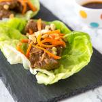 Thai Steak Bites - tender pieces of steak marinated in a ginger, garlic, and Thai seasoning. Great served in a lettuce cup or on its own. An easy dinner recipe you can make any night of the week.