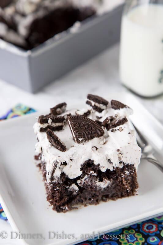 oreo poke cake on a plate