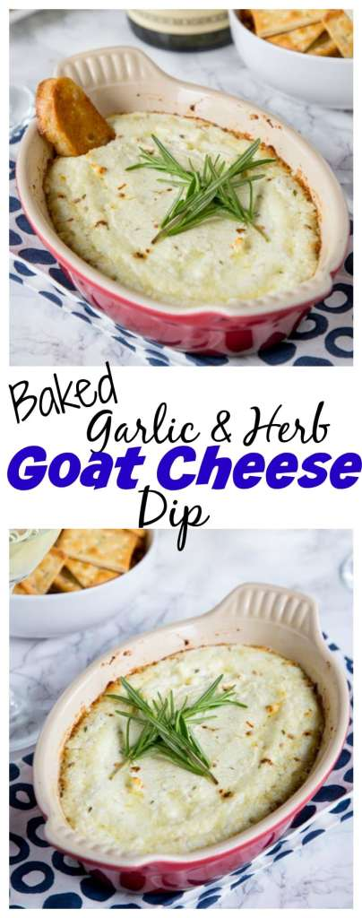 Baked Goat Cheese Dip with Garlic and Herbs - melty, cheesy baked goat cheese dip with lots of garlic and herbs! Pair with a glass of wine and you have the perfect appetizer.