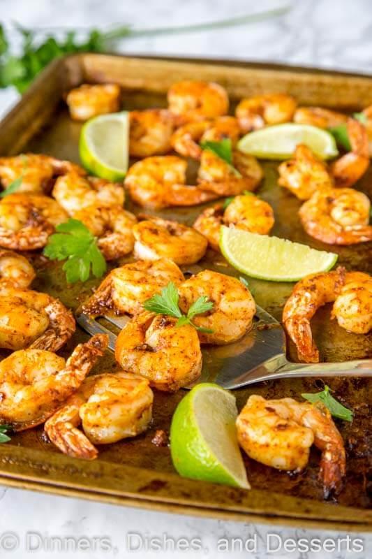 a tray of baked shrimp