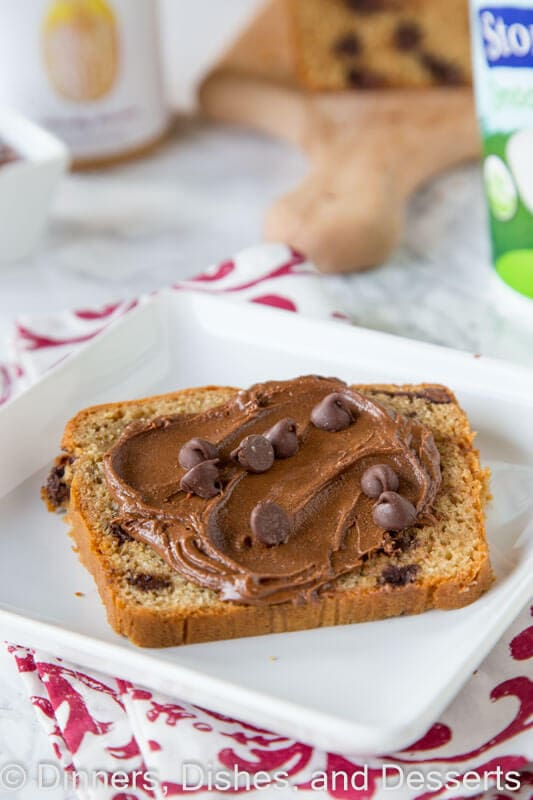 Peanut Butter Chocolate Chip Bread - a peanut butter quick bread full of chocolate chips! A great snack, breakfast, or even dessert.