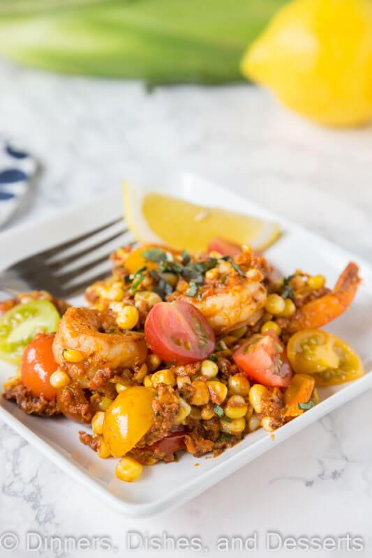 shrimp chorizo and  corn salad on a plate