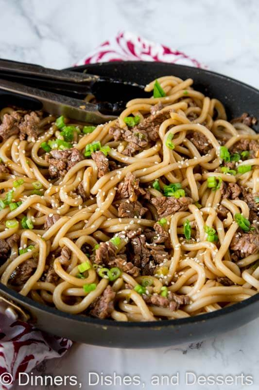 Garlic beef noodle bowl in a pan