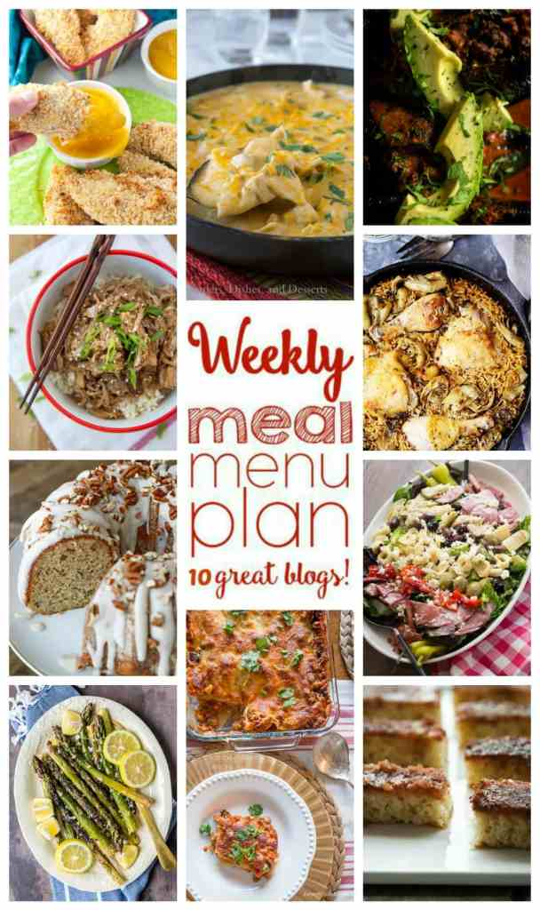 Weekly Meal Plan Week 66 – 10 great bloggers bringing you a full week of recipes including dinner, sides dishes, and desserts!