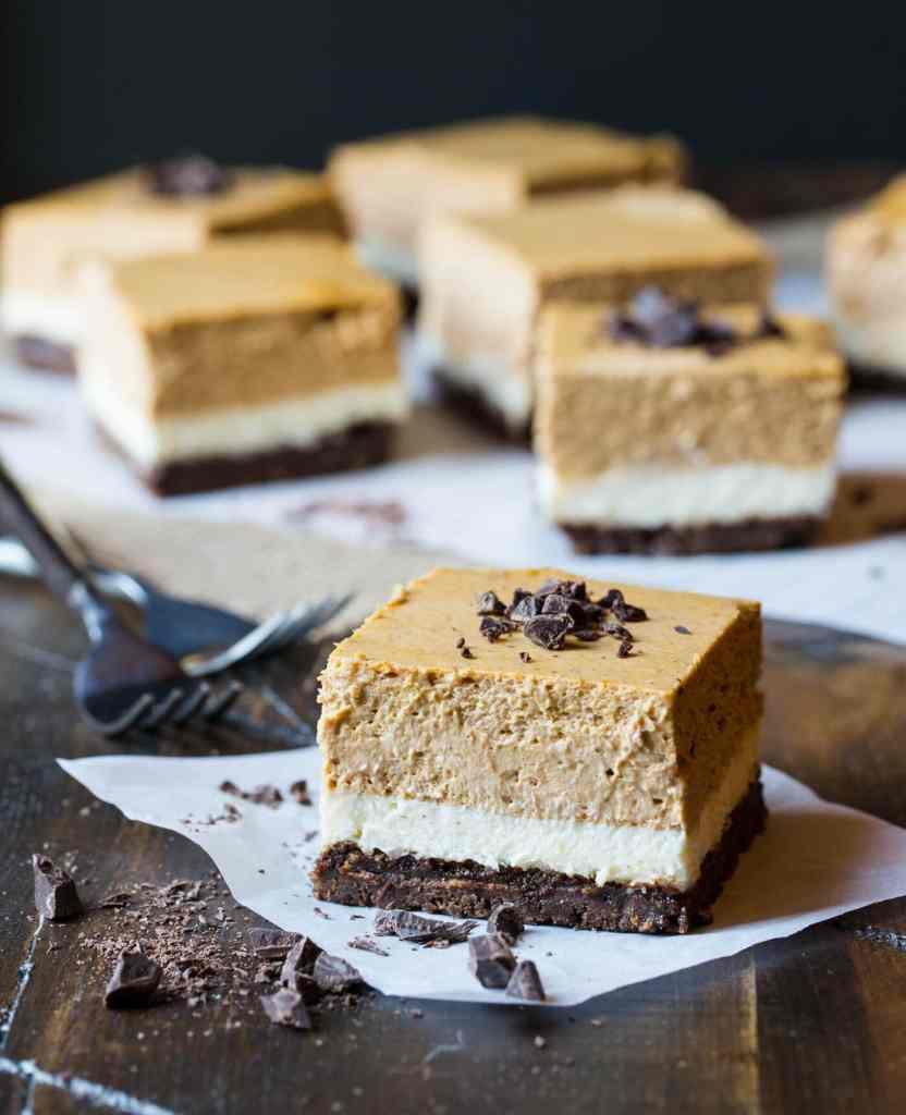 Gluten Free Chocolate Pumpkin Cheesecake Bars {Garnish with Lemon}