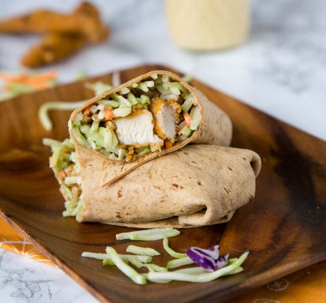 Honey Sesame Chicken Salad Wraps