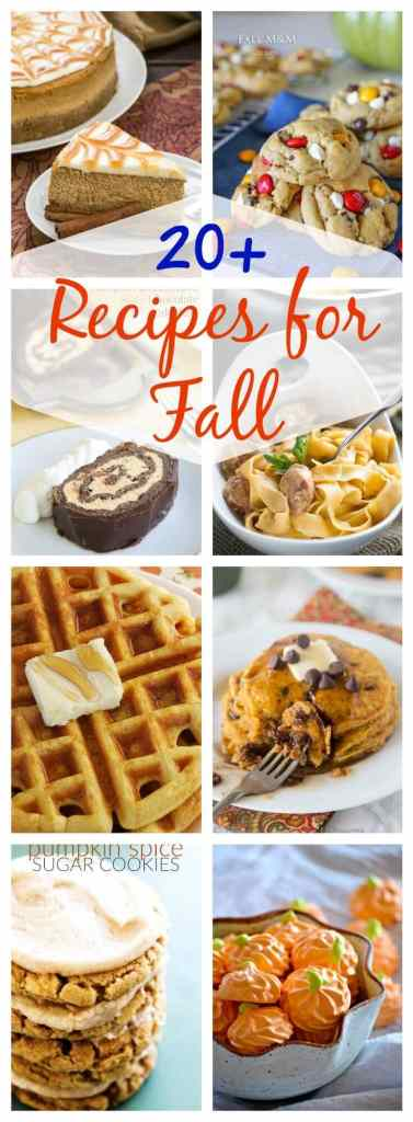 20 Fall Recipes - a round up of 20 recipes that are great for fall! Everything from breakfast to main dishes to desserts!