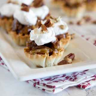 mini pecan pie bites on a plate