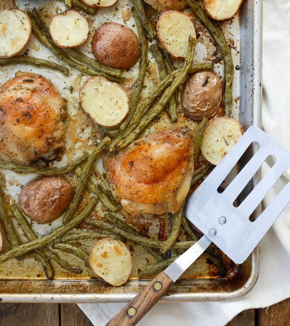 Sheet Pan Chicken Thighs with Green Beans and Potatoes {Barefeet in the Kitchen}