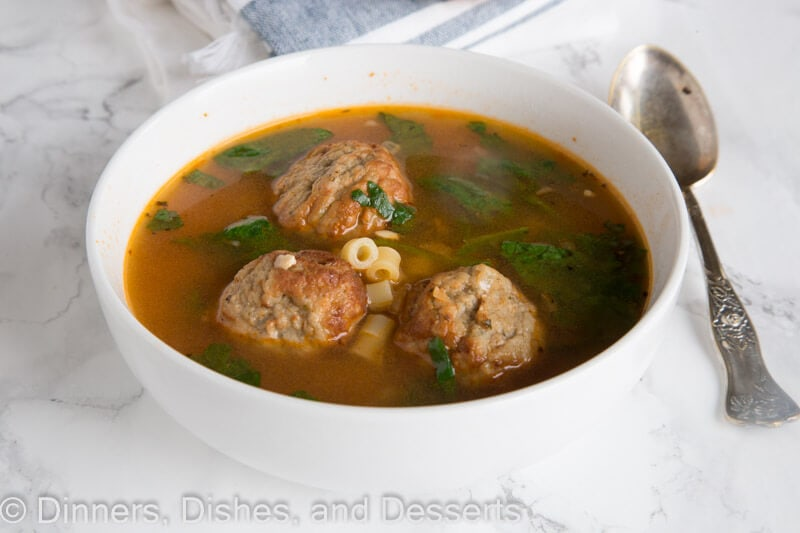 Italian Meatball Soup – an easy and comforting soup that comes together in minutes in one pan.