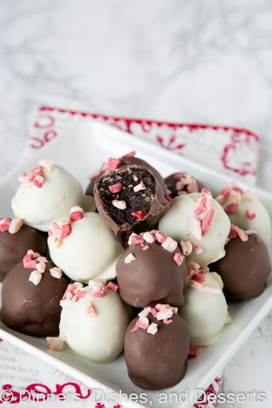 peppermint oreo truffles on a plate