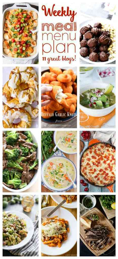 Weekly Meal Plan Week 83 – 11 great bloggers bringing you a full week of recipes including dinner, sides dishes, and desserts!