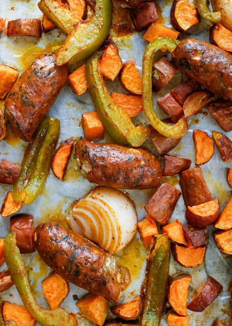 Roasted Sausage with Sweet Potatoes and Peppers {Barefeet in the Kitchen}