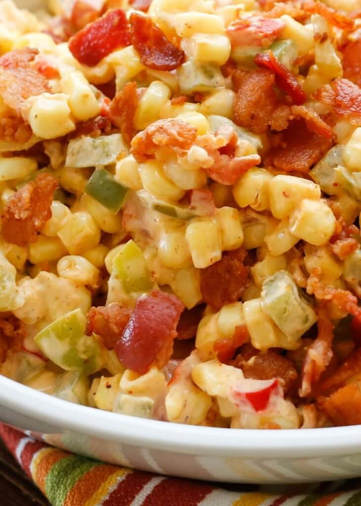 Creamed Corn with Peppers and Bacon {Barefeet it the Kitchen}