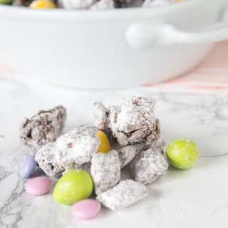 muddy buddies with easter M&M's on a table
