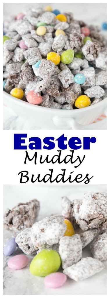 close up of muddy buddies with easter M&M\'s