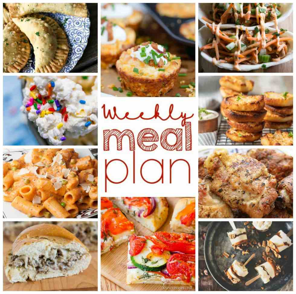 Weekly Meal Plan Week 94 - 10 great bloggers bringing you a full week of recipes including dinner, sides dishes, and desserts!