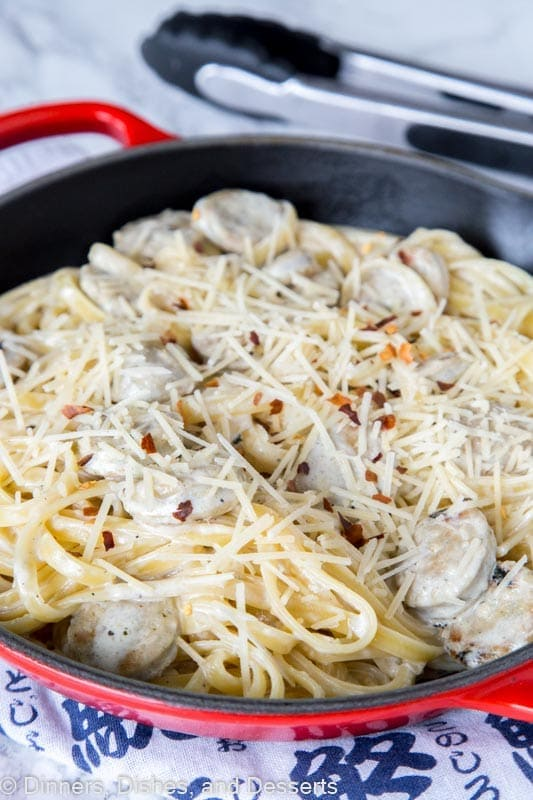Fettuccine Alfredo with Chicken Sausage - thick and creamy fettuccine alfredo made quick and easy with roasted garlic chicken sausage.
