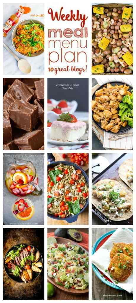 Weekly Meal Plan Week 100- 10 great bloggers bringing you a full week of recipes including dinner, sides dishes, and desserts!