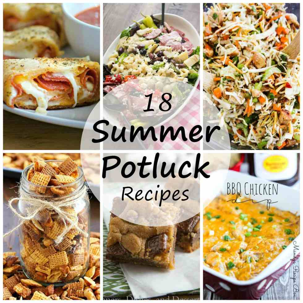 Summer Potluck Recipes - Are you looking for something to bring to a potluck this summer. Here we have 18 potluck recipes for you to try! Salads, desserts and more.