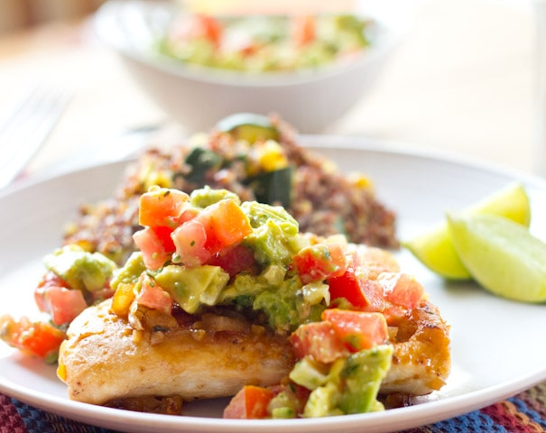 Grilled Chicken with Avocado Tomato Salsa