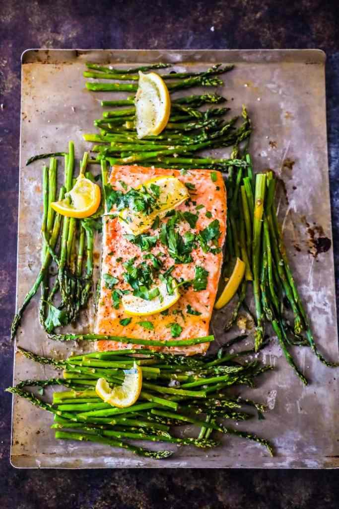Sheet Pan Lemon Garlic Salmon and Asparagus {Sweet C's}