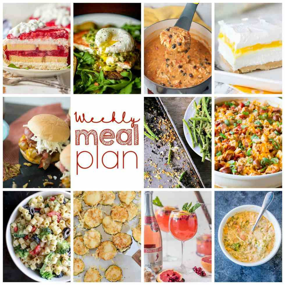 Weekly Meal Plan Week 105– 10 great bloggers bringing you a full week of recipes including dinner, sides dishes, and desserts!