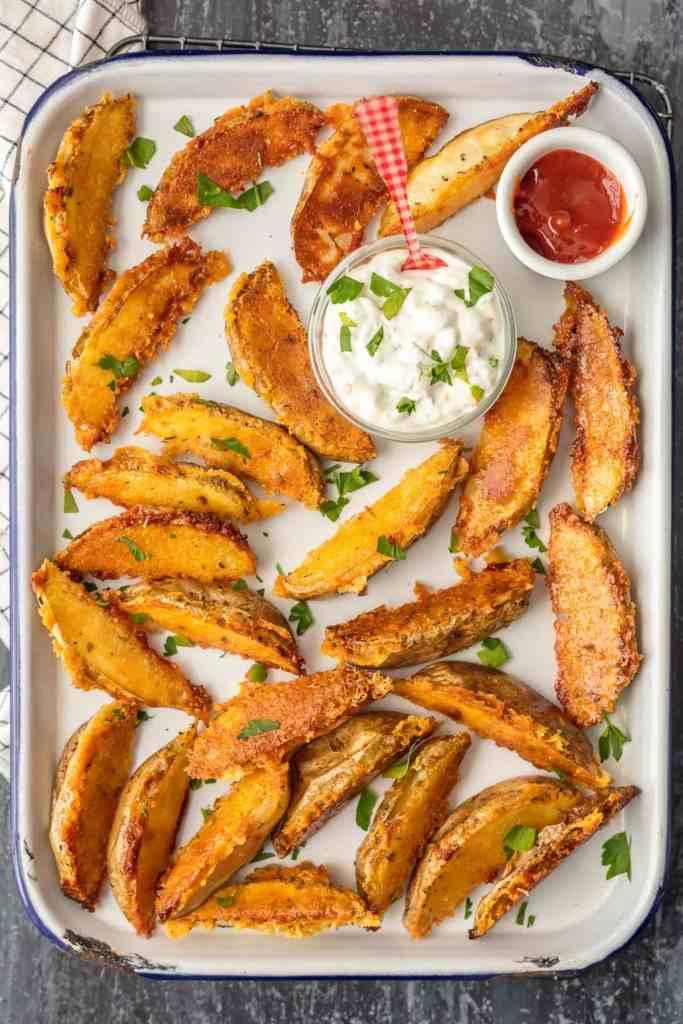 Crispy Parmesan Potato Wedges {The Cookie Rookie}