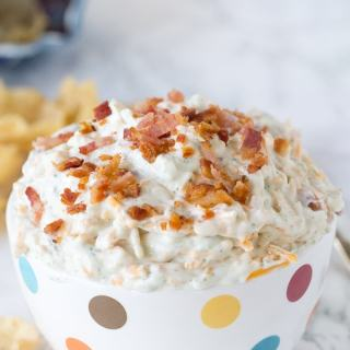 Cheddar Bacon Ranch Dip - just a handful ingredients make this super easy dip. Great for parties, picnics, on the go, or just about anytime!