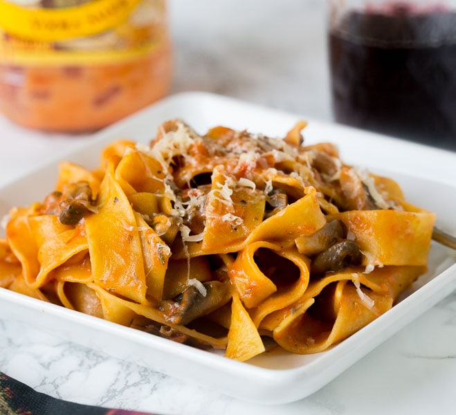 Pappardelle Pasta in Mushroom Sauce