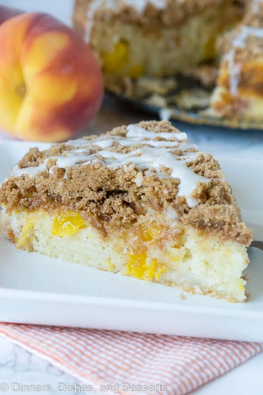 Peaches and Cream Coffee Cake - Fresh peaches give a bright and delicious twist to classic coffee cake. Enjoy with breakfast, coffee, dessert, or just because!
