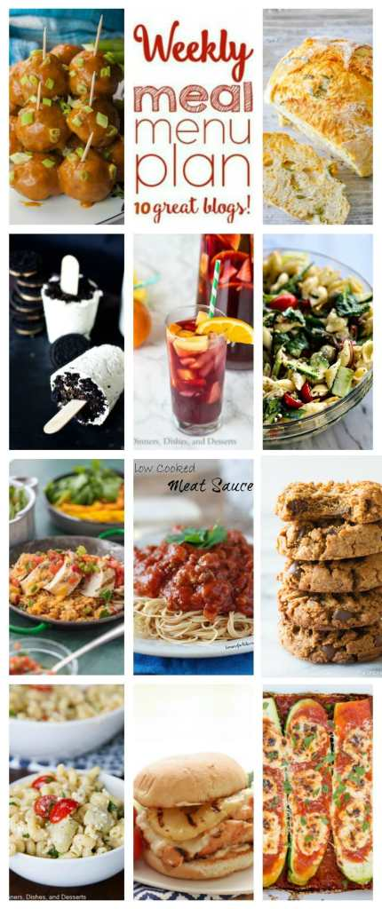 Weekly Meal Plan Week 112– 10 great bloggers bringing you a full week of recipes including dinner, sides dishes, and desserts!