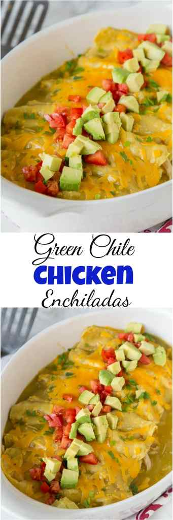 Green Chile Chicken Enchiladas - this super easy chicken enchilada recipe is loaded with chicken, cheese and topped with a green chile sauce!