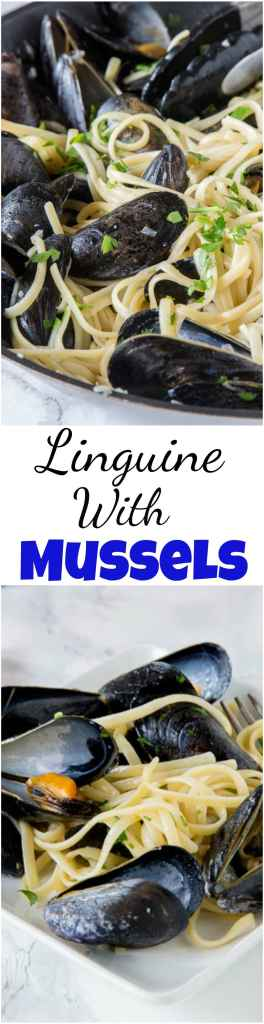 Linguine with Mussels - a super easy mussels recipe that mixes pasta and steamed mussels with shallots, butter and plenty of garlic! Simple, easy, and delicious.