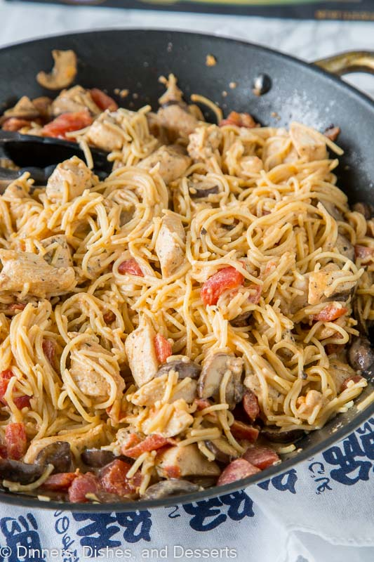 Tuscan Chicken Pasta - a super easy chicken pasta recipe that you can make any night of the week. Simple ingredients, just a few minutes, and dinner is done.