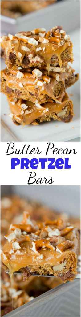 Butter Pecan Pretzel Bars - sweet and salty comes together in a super easy dessert!  Gooey caramel, pecans, and pretzels makes it extra delicious. #christmascookies #pillsbury #cookiecountdown #holidaybaking #caramel #dessert #baking #pecans