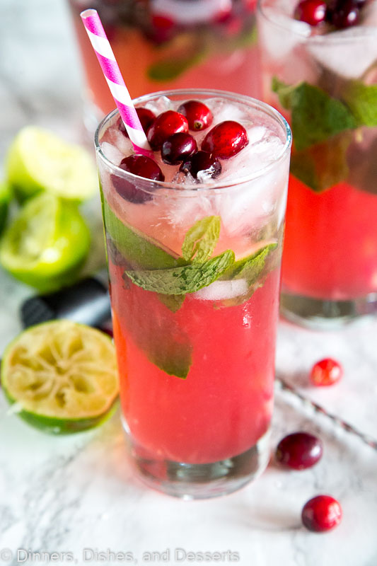 Cranberry Mojitos are a fun twist on a classic mojito to make the fun and festive for the holidays!