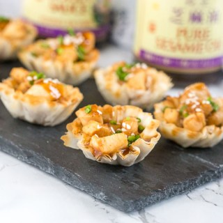 Hoisin Glazed Chicken Cups are perfect for entertaining. Easy to make, and absolutely irresistible on the holiday buffet!