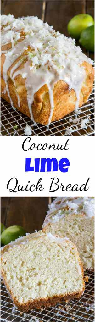Coconut Lime Quick Bread - soft and tender coconut bread with hints of lime, topped with a lime glaze and flakes of sweetened coconut. #food #recipe #quickbread #bread #baking #coconut #lime