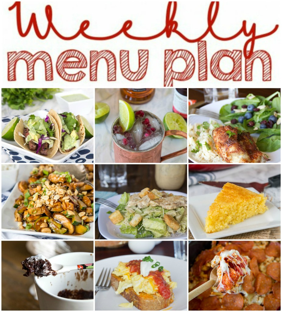 Weekly Meal Plan Week 131 - Make the week easy with this delicious meal plan.  6 dinner recipes, 1 side dish, 1 dessert, and 1 fun cocktail make for a tasty week!