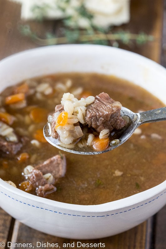 Spoonful of beef and barley soup