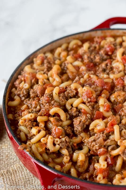 old fashioned goulash in pan