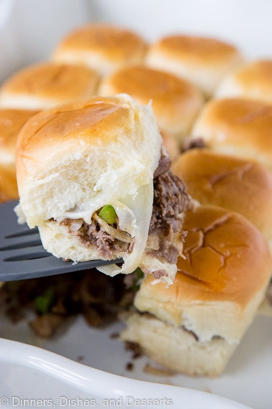 Philly Cheeseteak sliders with melty cheese