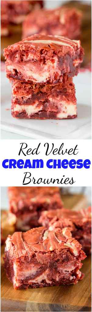 Red Velvet Brownies - thick and fudgy homemade brownies in a deep dark red color, swirled with cream cheese throughout. Red Velvet Cream Cheese Swirl Brownies look just as good as they taste! #brownies #redvelvet #dessert #recipe #cheesecake