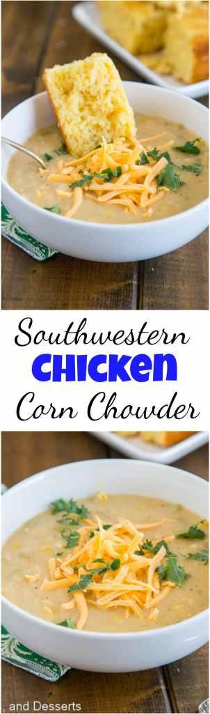 Southwestern Chicken Corn Chowder - collage