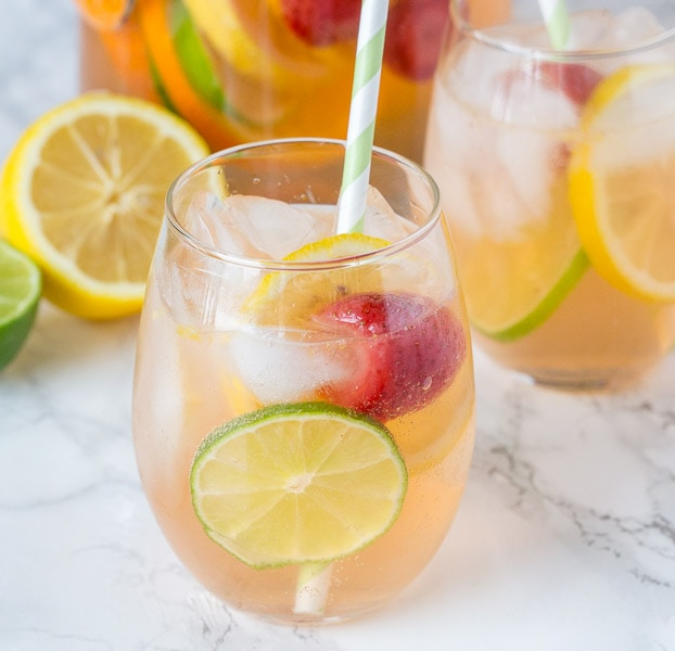 White Sangria Recipe - An easy white wine sangria that is crisp, refreshing, and delicious. Great for entertaining or just because!