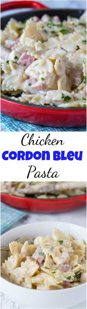 Chicken cordon bleu pasta collage