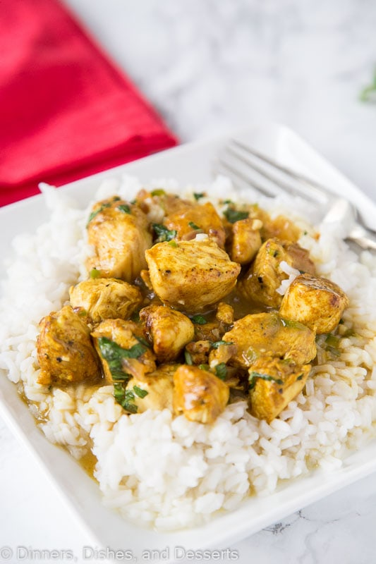 Chicken curry made with coconut milk and fresh basil