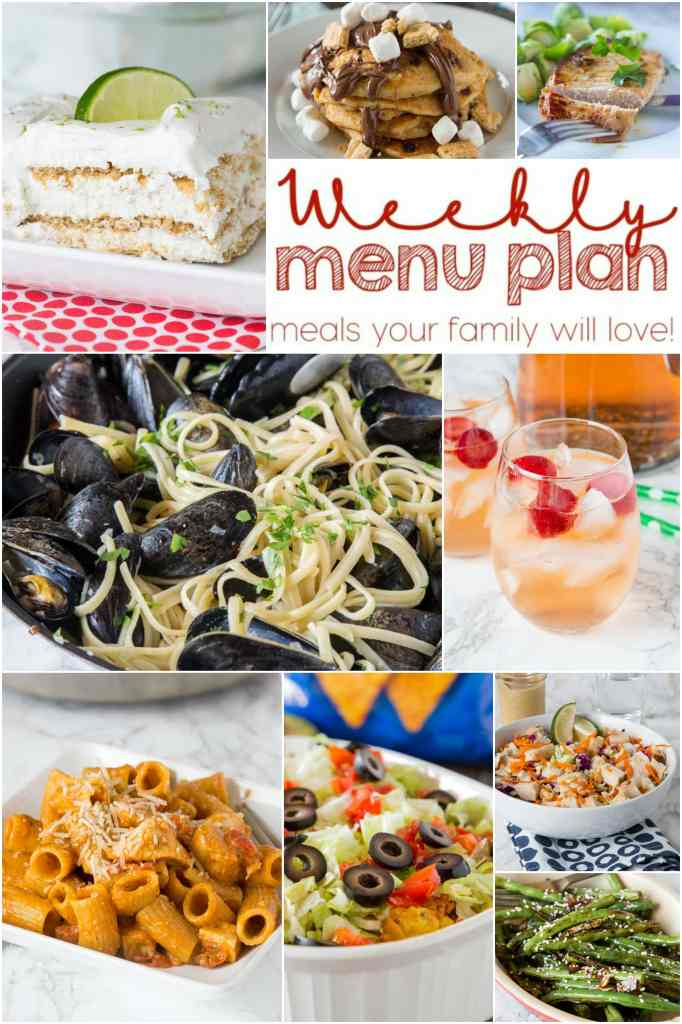 Weekly Meal Plan Week 146 - Make the week easy with this delicious meal plan. 6 dinner recipes, 1 side dish, 1 dessert, and 1 fun cocktail make for a tasty week! #mealplan #dinnerideas #recipes