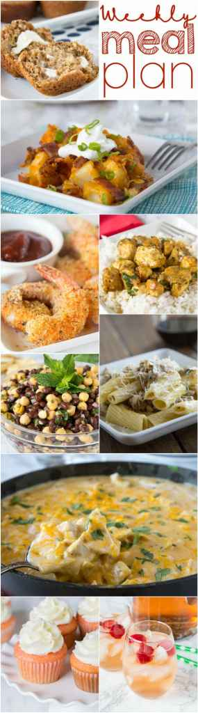 Weekly Meal Plan Week 148 - Make the week easy with this delicious meal plan. 6 dinner recipes, 1 side dish, 1 dessert, and 1 fun cocktail make for a tasty week!